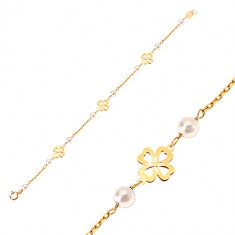 Náramek ze žlutého 14K zlata - bílé kulaté perličky a čtyřlístky pro štěstí