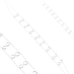 Stříbrný 925 náhrdelník, dvojitý řetízek, lesklé symboly nekonečna