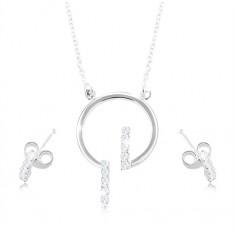 Sada ze stříbra 925, náušnice a náhrdelník - kroužek a čiré zirkonové linie