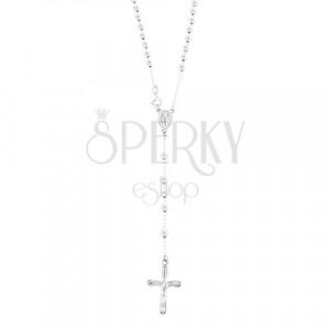 Růženec ze stříbra 925 - kuličky, medailon Panny Marie, kříž s Ježíšem