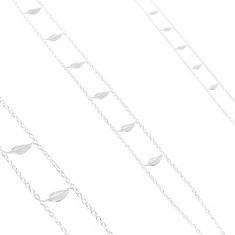 Stříbrný náhrdelník 925, dvojitý řetízek, lesklé gravírované listy
