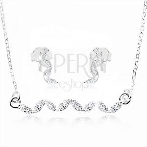 Stříbrná sada 925, náušnice a náhrdelník - vlnka z čirých zirkonů
