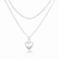 Stříbrný 925 náhrdelník, dvojitý řetízek, vypouklé srdíčko a drobné kuličky