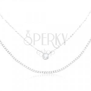 Stříbrný náhrdelník 925, zdvojený řetízek, kulatý zirkon čiré barvy