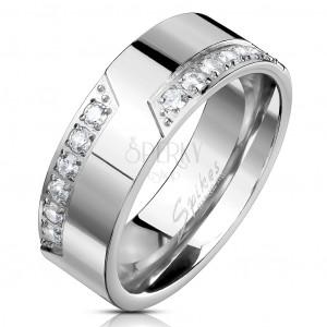 Prsten z oceli 316L, stříbrná barva, linie čirých zirkonů, 8 mm