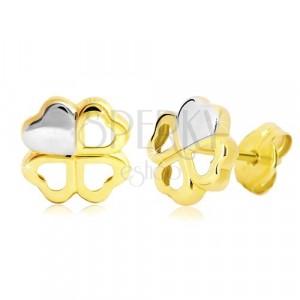 Náušnice ve 14K zlatě - dvoubarevný čtyřlístek pro štěstí, puzetky