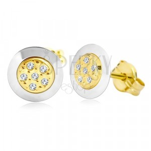 Náušnice ze 14K zlata - kruh s čirými zirkony uprostřed, žluté a bílé zlato