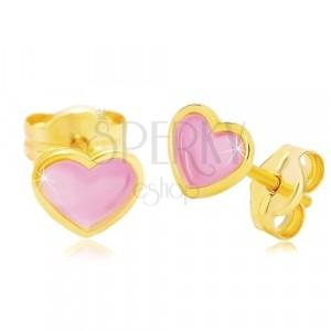 Náušnice ze žlutého 14K zlata, srdíčko s růžovou glazurou, puzetky