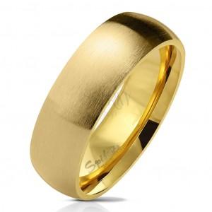 Prsten z chirurgické oceli zlaté barvy, matný zaoblený povrch, 6 mm
