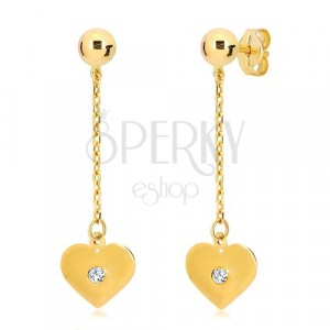 Náušnice ve žlutém 14K zlatě - ploché srdce visící na řetízku, zirkon