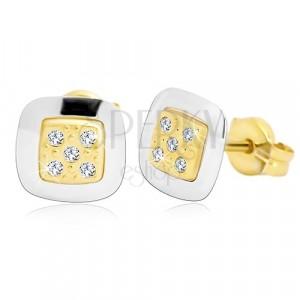 Náušnice ze 14K zlata - čtverec s čirými zirkony uprostřed, žluté a bílé zlato