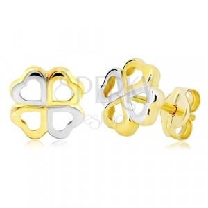 Zlaté náušnice 585 - čtyřlístek pro štěstí z dvoubarevných srdíček