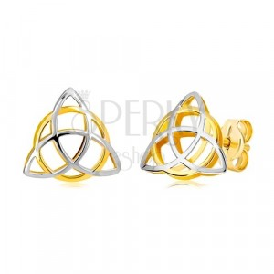 Dvoubarevné náušnice ve 14K zlatě - trojcípý keltský uzel s kruhem