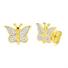 0f73360e7 Zlaté náušnice 585 - motýlek zdobený bílým zlatem a tečkami GG20.32