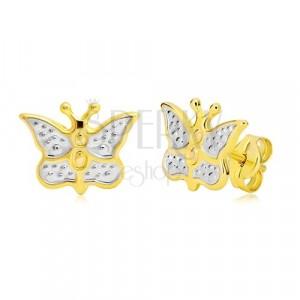 Zlaté náušnice 585 - motýlek zdobený bílým zlatem a tečkami
