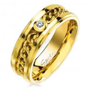 Prsten z chirurgické oceli zlaté barvy s řetízkem a čirým zirkonem, 7 mm