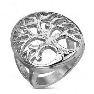 Prsten z chirurgické oceli s motivem stromu ve velkém oválu, stříbrná barva