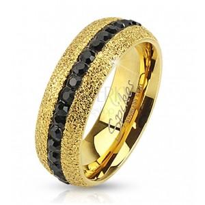 Ocelový prsten zlaté barvy, třpytivý, se zirkonovým pásem, 6 mm