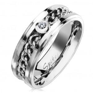 Ocelový prsten ve stříbrném odstínu s řetízkem a čirým zirkonem, 7 mm
