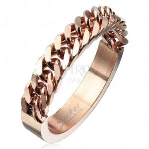 Prsten z chirurgické oceli měděné barvy se vzorem řetízku, 4 mm