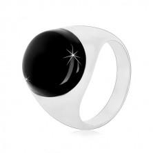 Stříbrný prsten 925 s černou oválnou glazurou a lesklými rameny