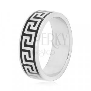 Prsten ze stříbra 925 s černým vzorem řeckého klíče, 6 mm