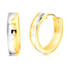 Kruhové náušnice ze zlata 585, dvoubarevné, s gravírovanou vlnkou uprostřed