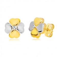 Náušnice ze zlata 585 - dvoubarevný čtyřlístek pro štěstí se zirkonem