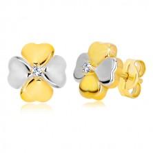 Náušnice ve 14K kombinovaném zlatě - symbol štěstí se zirkonem, puzetky