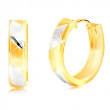Náušnice ze 14K zlata - matné dvoubarevné proužky s lesklými liniemi