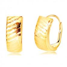 Náušnice ze žlutého zlata 585 - oblouky se šikmými zářezy, dámský patent