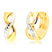 Kruhové náušnice ze 14K zlata - symbol nekonečna s vybroušenou linií