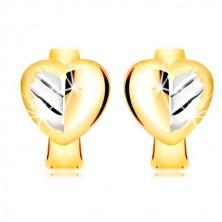 Náušnice v kombinovaném zlatě 585 - plné dvoubarevné srdce s listem