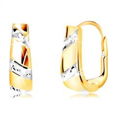 Náušnice ze zlata 585 - rozšiřující se pás s liniemi z bílého zlata GG218.41