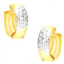 Kruhové náušnice z kombinovaného 14K zlata - výplet v bílém zlatě