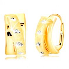Náušnice ze zlata 585 - oblouk zdobený matným půlkruhem, zrnka z bílého zlata GG218.57