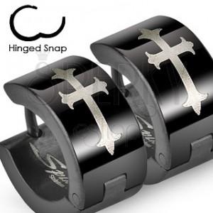 Ocelové náušnice - černé s křížem