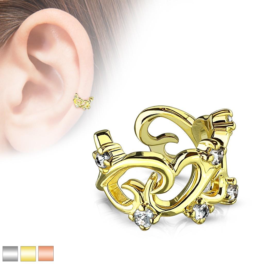 Nepravý piercing do ucha - vzájemně propletené kontury srdcí se zirkony - Barva piercing: Měděná