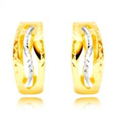 Náušnice ze 14K zlata - jemně zvlněné výřezy, vlnka z bílého zlata GG219.02