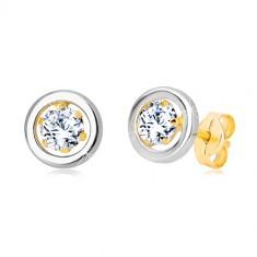 Náušnice ze 14K zlata - kulatý zirkon v kotlíku a kruh z bílého zlata GG19.28