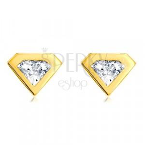 Náušnice ze zlata 585 - broušený zirkon se zlatým lemem, motiv diamantu