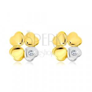 Náušnice ze 14K zlata - čtyřlístek pro štěstí, srdíčko se zirkonem