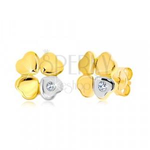 Diamantové náušnice ze zlata 585 - čtyřlístek pro štěstí, srdíčko s briliantem