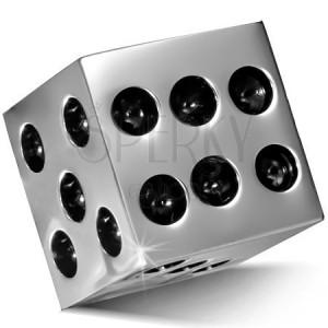 Přívěsek z chirurgické oceli - lesklá kostka stříbrné barvy, černé tečky