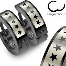 Černé náušnice z oceli - motiv hvězdičky
