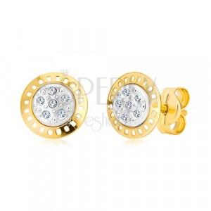 Náušnice z kombinovaného 14K zlata - dvoubarevný kruh se zirkony