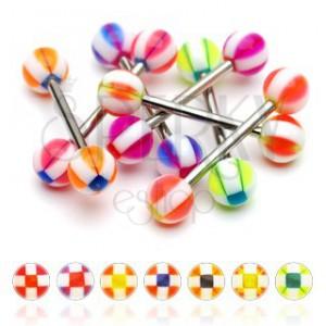 Piercing do jazyka kulička se čtverečky