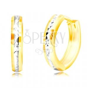 Náušnice ve 14K zlatě - úzký kruh, broušený pás z bílého zlata, lesklé plošky