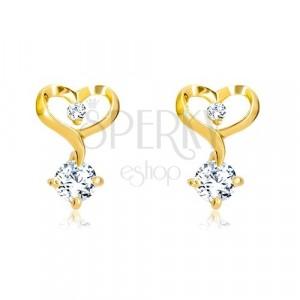 Briliantové náušnice ve 14K žlutém zlatě - kontura srdce s diamanty