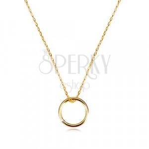 Zlatý náhrdelník 375 - jemný řetízek s přívěskem, hladký lesklý kroužek